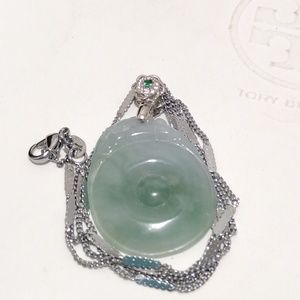 Authentic type A lucky green jade pendant